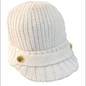 Michael Kors White x Gold Cable Knit Newsboy Hat